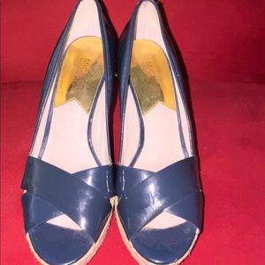 Michael Kors blue wedge platform shoes